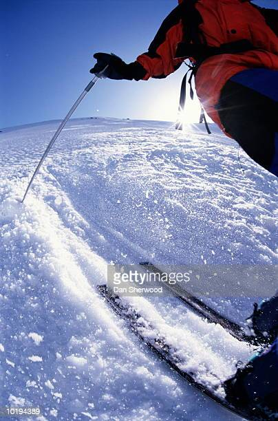 Telemark skier, low angle view, mid section