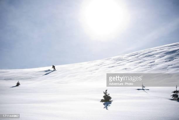 Telemark Skier Making Turn in Scenic Mountain Winter Landscape