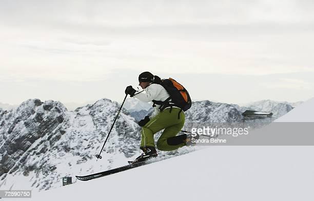 A telemark skiier is seen during the SchneeSTART on Germany`s highest mountain on November 17 2006 in GarmischPartenkirchen Germany SchneeSTART is...