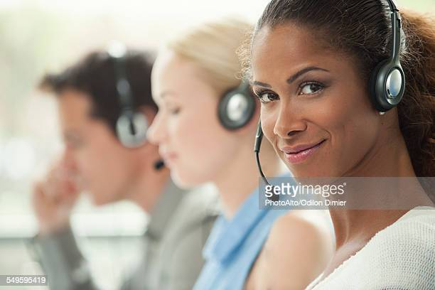 Telemarketer working in call center