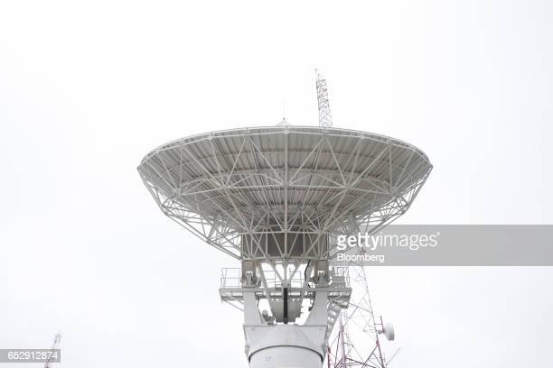 A Telemetry Tracking and Control antenna stands at the Bolivian Space Agency Amachuma Ground Station in Achocalla La Paz Department Bolivia on...