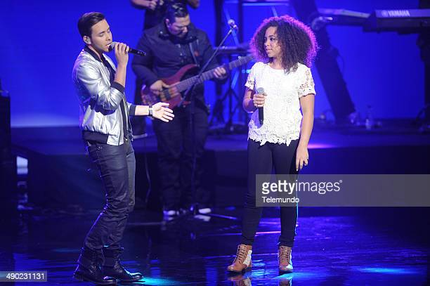EVENTS 2014 Telemundo Upfront at Jazz at Lincoln Center on Tuesday May 13 2014 Pictured Prince Royce La Voz Kids Coach Paola Guanche La Voz Kids...