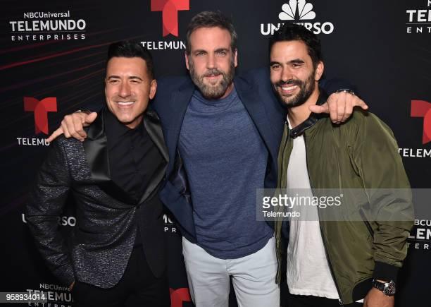 Telemundo Upfront Celebration in New York City on Monday May 14 2018 Pictured Jorge Bernal 'Suelta la Sopa' Carlos Ponce Ignacio Serricchio 'El...
