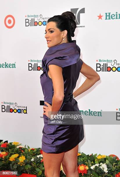 Telemundo's Candela Ferro attends the 2008 Billboard Latin Music Awards at the Seminole Hard Rock Hotel and Casino on April 10 2008 in Hollywood...
