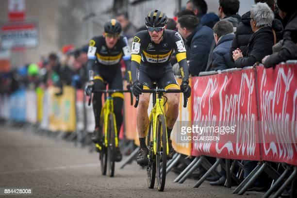 Telenet Fidea Dutch Elite Corne Van Kessel and Belgian Toon Aerts ride during the men elite race of the GP Hasselt stage 3 in the Soudal Classics...