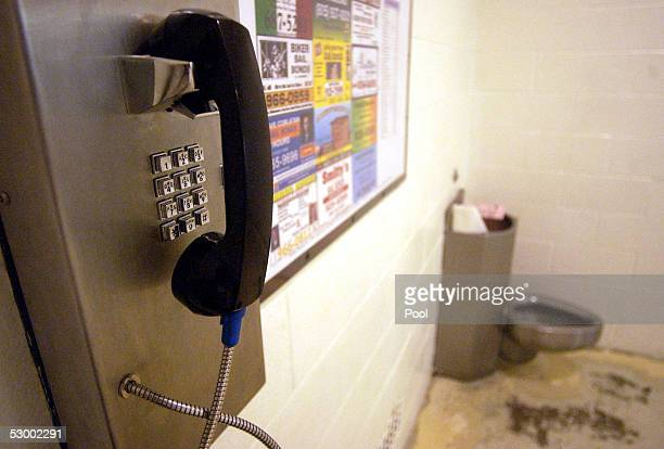 Telephone and a toilet are shown in the holding cell area where arrestees are allowed their phone call at the Santa Barbara County Sheriff Substation...