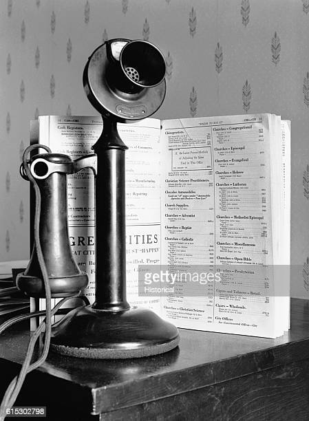 A telephone and directory inside a building in Dubuque Iowa