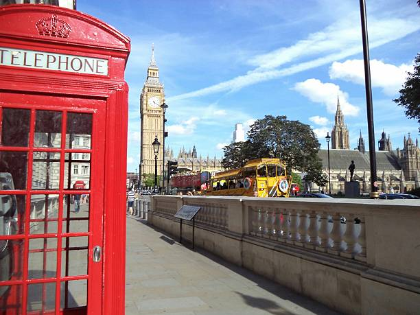 Telephone Booth In City With Big Ben Against Sky