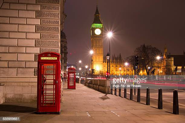 telephone boxes and big ben - telephone booth stock pictures, royalty-free photos & images