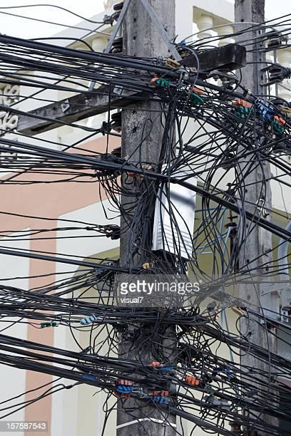 Téléphone, de l'électricité pôle et fils