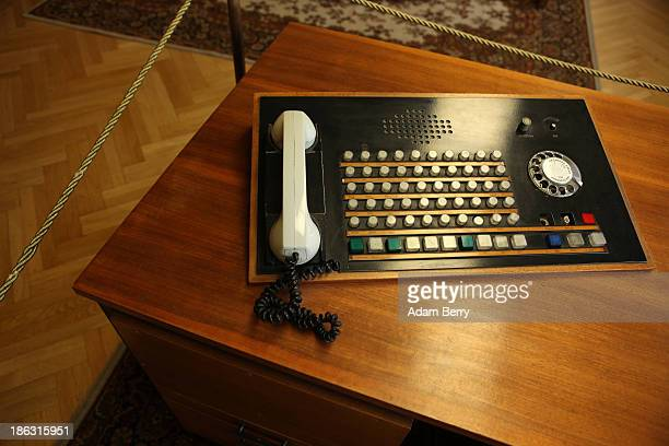 A telephone is displayed in the offices of Erich Mielke the last Stasi minister at the Stasi or East German Secret Police Museum on October 30 2013...