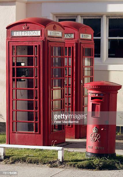 Telephone kiosks and a post box stand in front of the main post office on February 2 2007 in Stanley Falkland Islands The United Kingdom will...