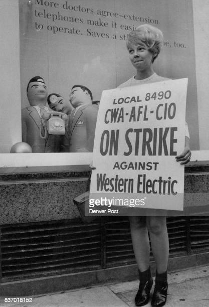 Telephone Operator Pulls a Switch d of sitting all day at a switchboard Barbara Frasier of 2365 S Meade St carries a picket sign outside Mountain...