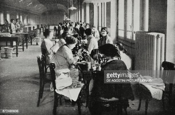 Telephone operators working on woolen garments for soldiers at the front Italy World War I from L'Illustrazione Italiana Year XLII No 50 December 12...