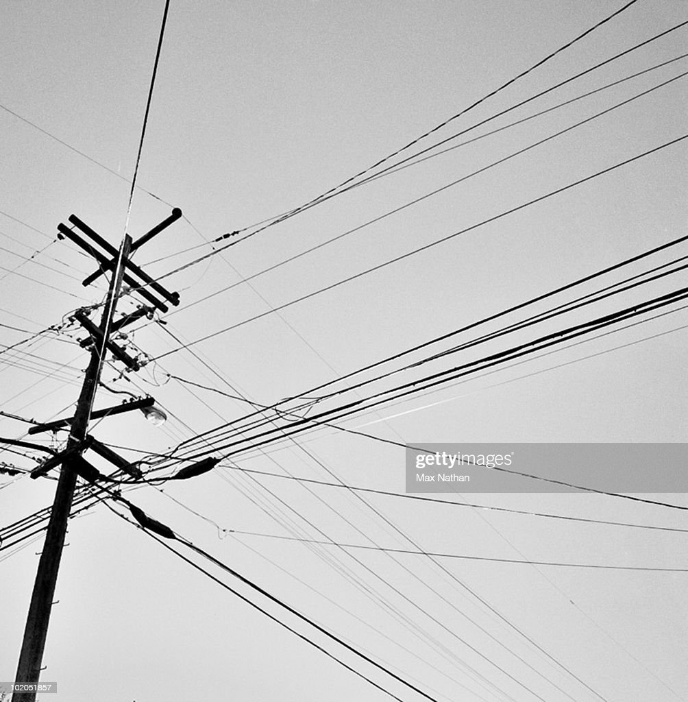 Telephone Pole And Wires Black And White Stock Photo | Getty Images