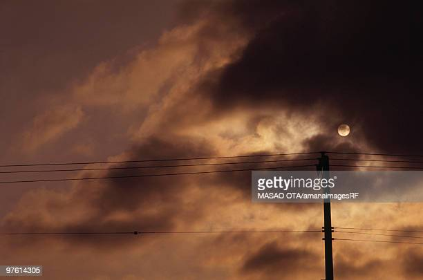 Telephone pole silhouetted by the moon