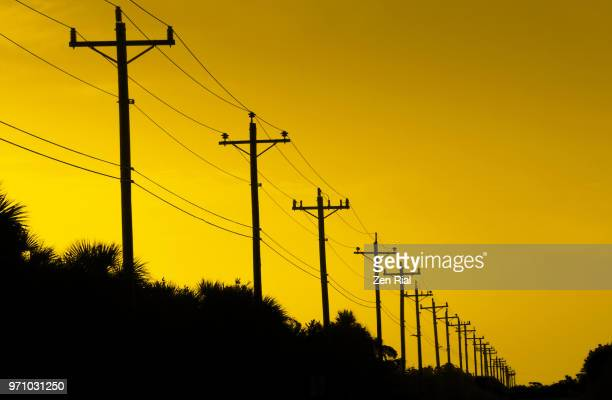 telephone poles and power lines against yellow sky - power line stock pictures, royalty-free photos & images