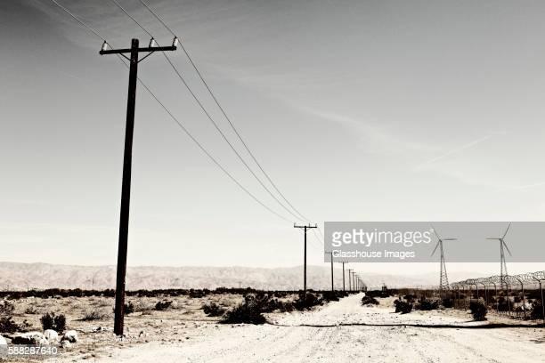 Telephone Poles and Wind Turbines in Desert, California, USA