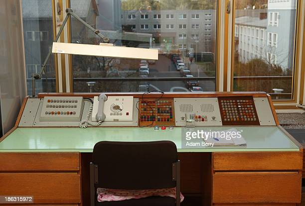 A telephone receptionist's panel is displayed at the Stasi or East German Secret Police Museum on October 30 2013 in Berlin Germany German officials...