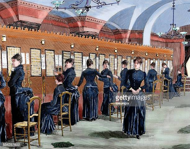 Telephone service in Madrid Central office Colored engraving 1886
