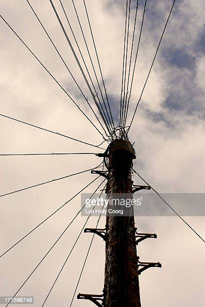 telephone wires and stormy sky - lyn holly coorg stock pictures, royalty-free photos & images