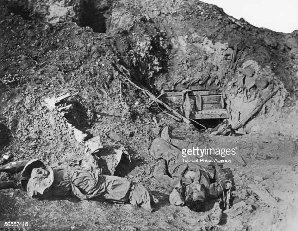A telephonist killed at his post during the offensive on the Somme World War I 10th October 1916