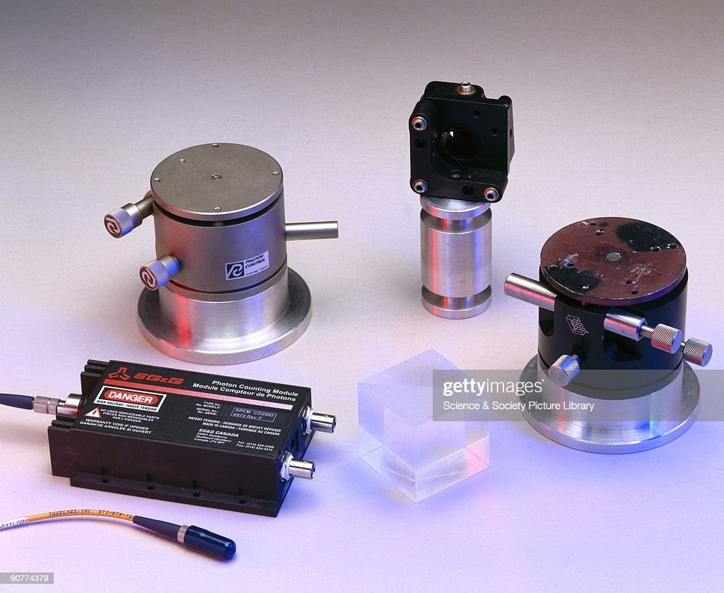 Components from a teleportation kit, 2002. : News Photo