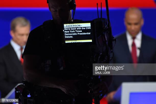 Teleprompter is pictures during a break of the fourth Democratic primary debate of the 2020 presidential campaign season co-hosted by The New York...