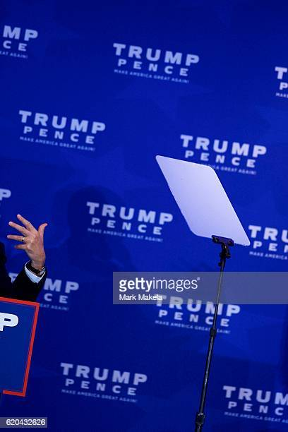A teleprompter is positioned beside the lectern as Indiana Governor Mike Pence running mate of Republican Presidential nominee Donald J Trump speaks...