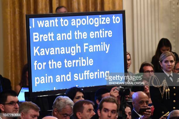 Teleprompter shows the speech being delivered by US President Trump during the swearing-in ceremony of Brett Kavanaugh as Associate Justice of the US...
