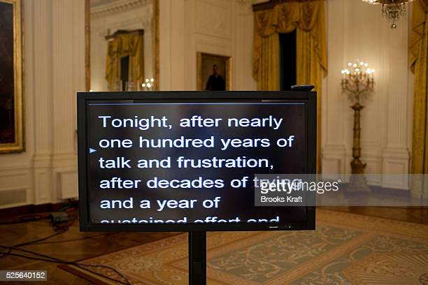 A teleprompter shows the start of President Barack Obama's speach about the House of Representatives' final passage of health care legislation in the...