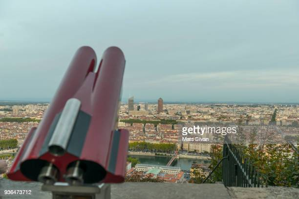 Telescope and Panoramic View over Lyon in Dusk