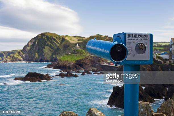 telescope at view point - ilfracombe stock pictures, royalty-free photos & images