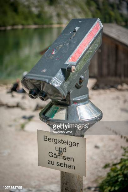 telescope for tourists, climbers and chamois, lake obersee, salet am koenigssee, berchtesgadener land national park, berchtesgadener land, upper bavaria, bavaria, germany - for stock pictures, royalty-free photos & images