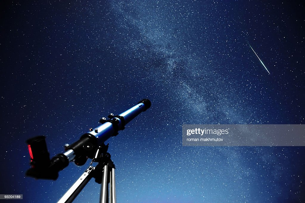 Telescope pointed at the Milky Way Galaxy : Stock Photo