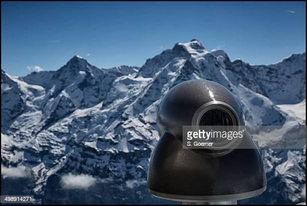 Telescope view on Mount Schilthorn