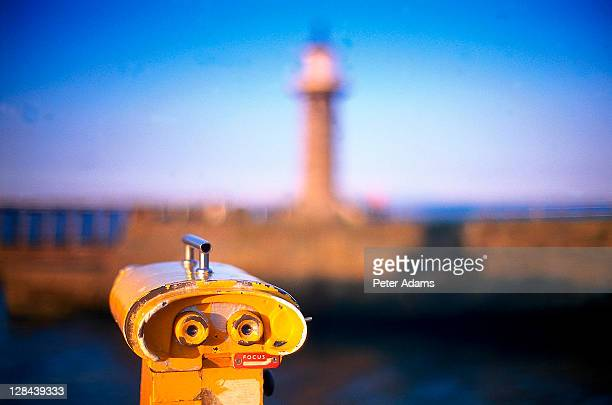 telescope, whitby, uk - binoculars stock pictures, royalty-free photos & images