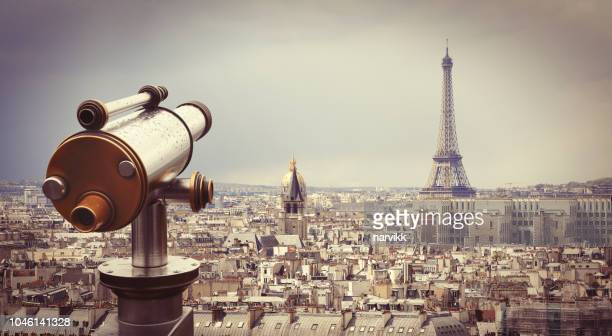 Telescope with Eiffel tower in Paris