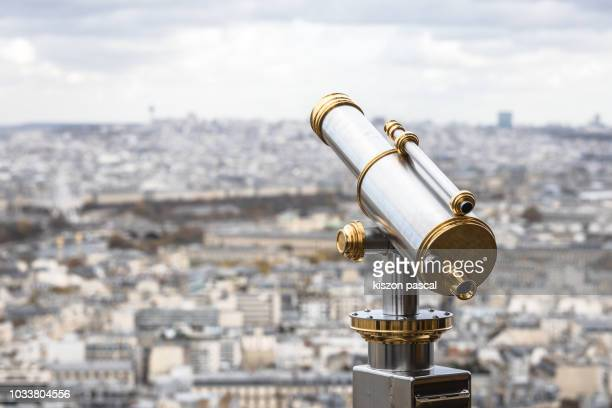 Telescope with views of Paris in observation point , France