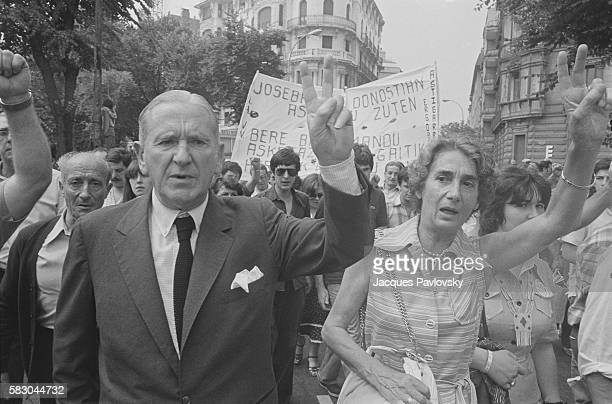 Telesforo Monzon member of the Basque Independentist Movement demonstrates with his wife to protest the death of a Basque independentist activist...