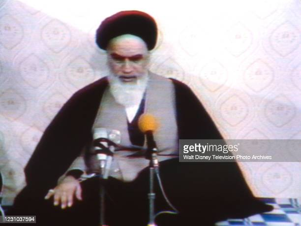 Telesnap of Ayatollah Khomeini in interview for ABC News.