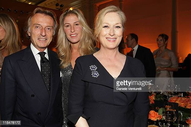 Telethon president Luca Cordero di Montezemolo his wife Ludovica Andreoni and actress Meryl Streep attend the Charity Gala Telethon during Day 8 of...