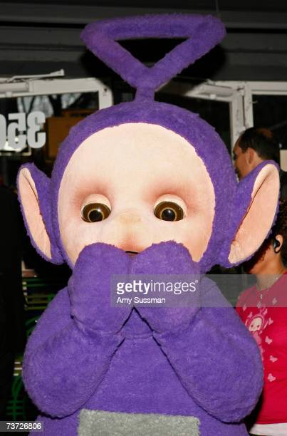 Teletubbie Tinky Winky attends the Teletubbies Take Manhattan opening night party at the PopUp Shop on March 27 2007 in New York City