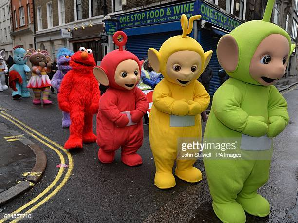 'Teletubbies' and other toy characters prepare to begin the second annual Hamleys Christmas Toy Parade on Regent Street central London