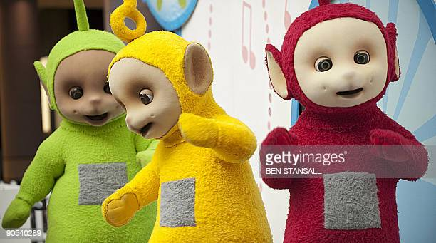 Teletubbies Dipsy LaaLaa and Po perform during their Reunion Tour at Westfield in west London on September 10 2009 The Teletubbies the cult...
