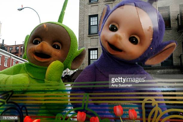 Teletubbies Tinky Winky and Dipsy attend the Teletubbies Take Manhattan opening night party at the Pop Up Shop on March 27 2007 in New York City