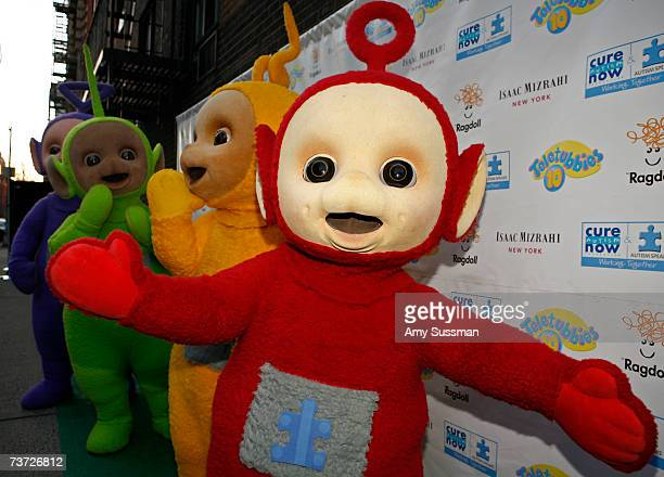 Teletubbies Tinky Winky Dipsy LaaLaa and Po attend the Teletubbies Take Manhattan opening night party at the Pop Up Shop on March 27 2007 in New York...