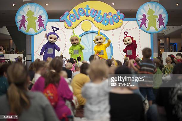 Teletubbies Tinky Winky Dipsy LaaLaa and Po perform during their Reunion Tour at Westfield in west London on September 10 2009 The Teletubbies the...