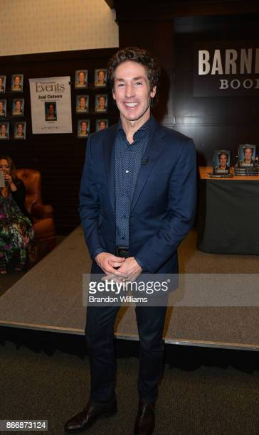 Televangelist Joel Osteen attends at the book signing for his book Blessed in the Darkness at Barnes Noble at The Grove on October 26 2017 in Los...