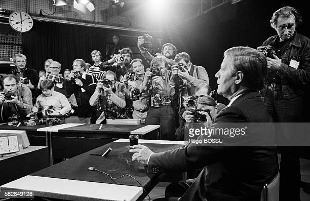 Televised debate between Social Democratic Party representatives Chancellor Helmut Schmidt and Willy Brandt and the Christian Democratic Union of...
